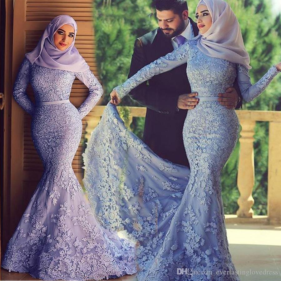 Saidmhamad Saudi Arabia Lace Applique Muslim Mermaid with Hijab Prom Dress Long Sleeves Purple Eveing Gown