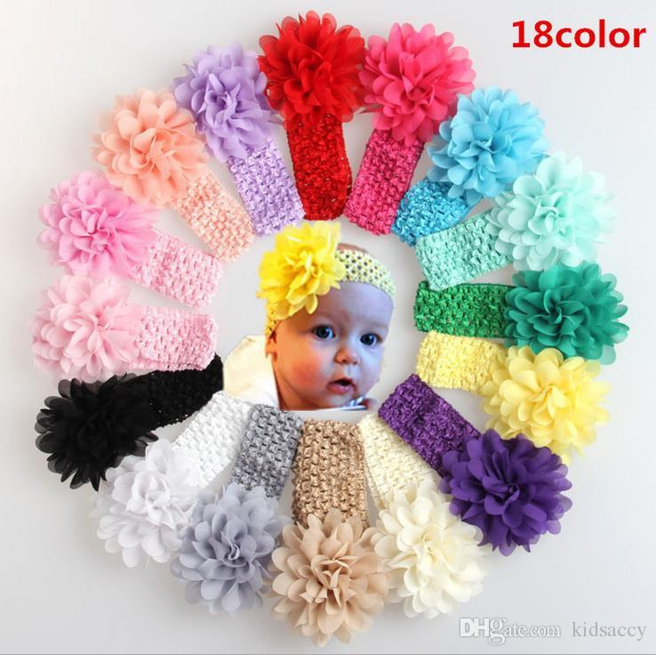 18 Farben Europa Mode Baby-Stirnband-Kinder Chiffon Blumen Haarbänder Hauptbänder Kinder Elastic Kopfbedeckung Babys Headwrap