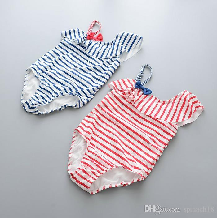Hot Summer Girls Swimsuit Stripe Bowknot Ruffles Kids One-piece Swimsuit Bikini Swimwear Children Swimming Costumes 3120