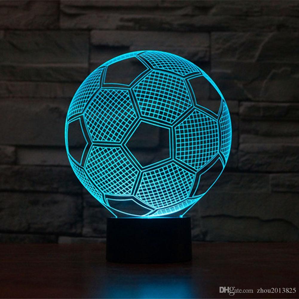 3D Оптическая Иллюзия Питание от USB 7 Цветов Футбол Сенсорный Botton Настроение Лампы Освещение Гаджет Настольная Лампа