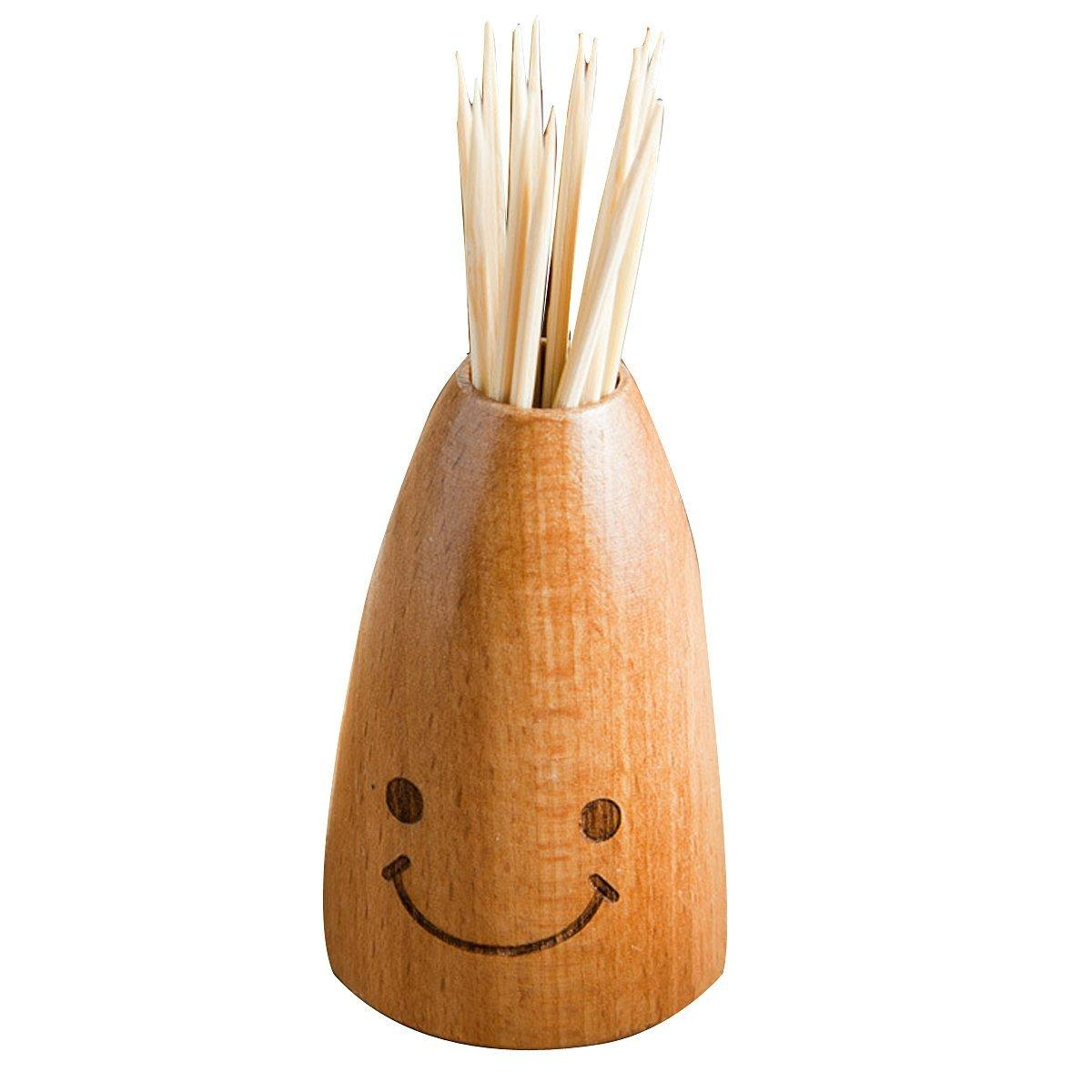 Wholesale- Cute Smile Wooden Toothpick Holder Carving Toothpick Holder Carving Jewellery Box Carrier Houses toothpick bucket