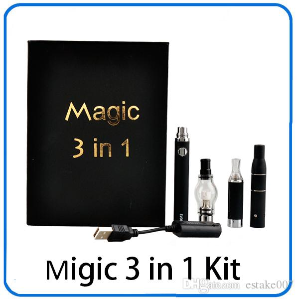 Magic 3 in 1 Wax Vaporizzatore Penna Kit Dry Herb sigarette elettroniche con atomizzatore MT3 Glass atomizzatore EVOD Batteria 1100mah