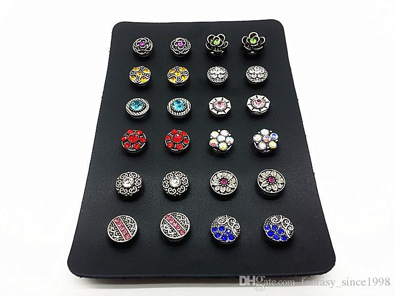 un set da donna 12 paia (24pz) mix 12mm mini bottoni a pressione per orecchini con porta-display