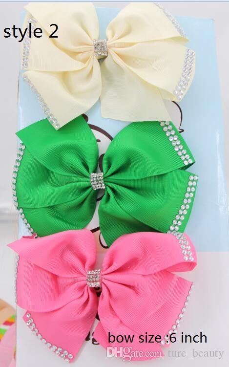 9Style disponibile! Jojo Siwa 20 Pz / Pompoms della ragazza / Pompoms della ragazza / Strass 6 pollici Green Green Doppio Bow Bow Bow W clip (nuovo) Accessori per capelli
