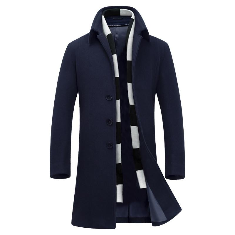 Großhandels-Luxus erkek mont Mode Mantel Männer Wollmischungen verdicken sobretudo 2017 Größe M bis 6XL
