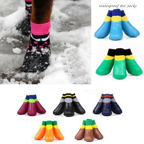 방수 개 코 튼 양말 신발 작은 크기 큰 개를위한 일곱 크기 사용 4pcs / set