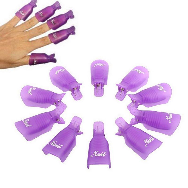 10pcs/Lot Reusable Professional Plastic Nail Art UV Gel Polish Soak Off Remover Wrap Cleaner Clip Cap Tool