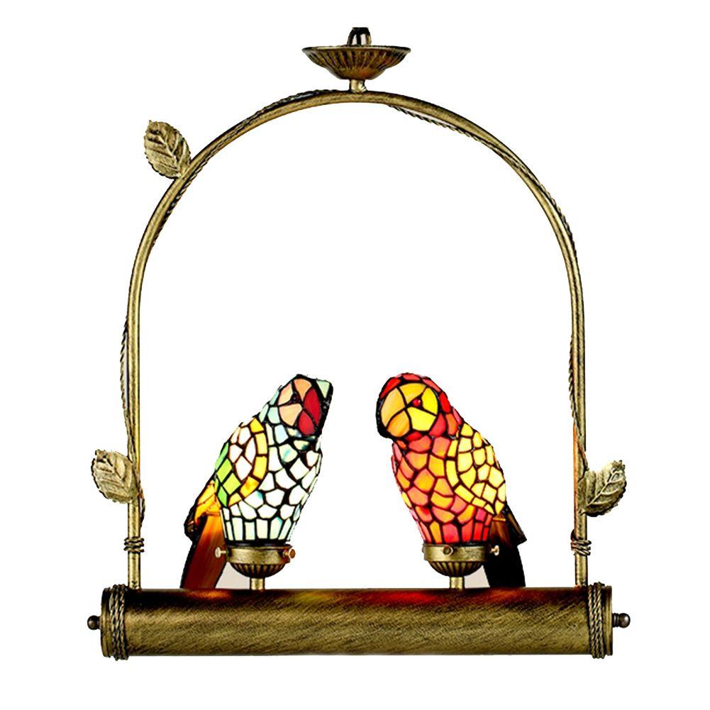 Deux ara Oiseaux debout Arch Shelf Tiffany Lamp Lumière Parrot Vitrail Lampe suspendue Accent Nouveauté Lampe
