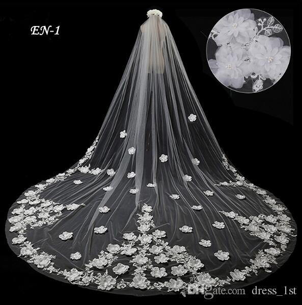 Romantic 3D Floral Applique Beaded Cathedral Wedding Veils 2017 One Layer Long Tulle Handmade White Bridal Gowns Ball Veil EN-1