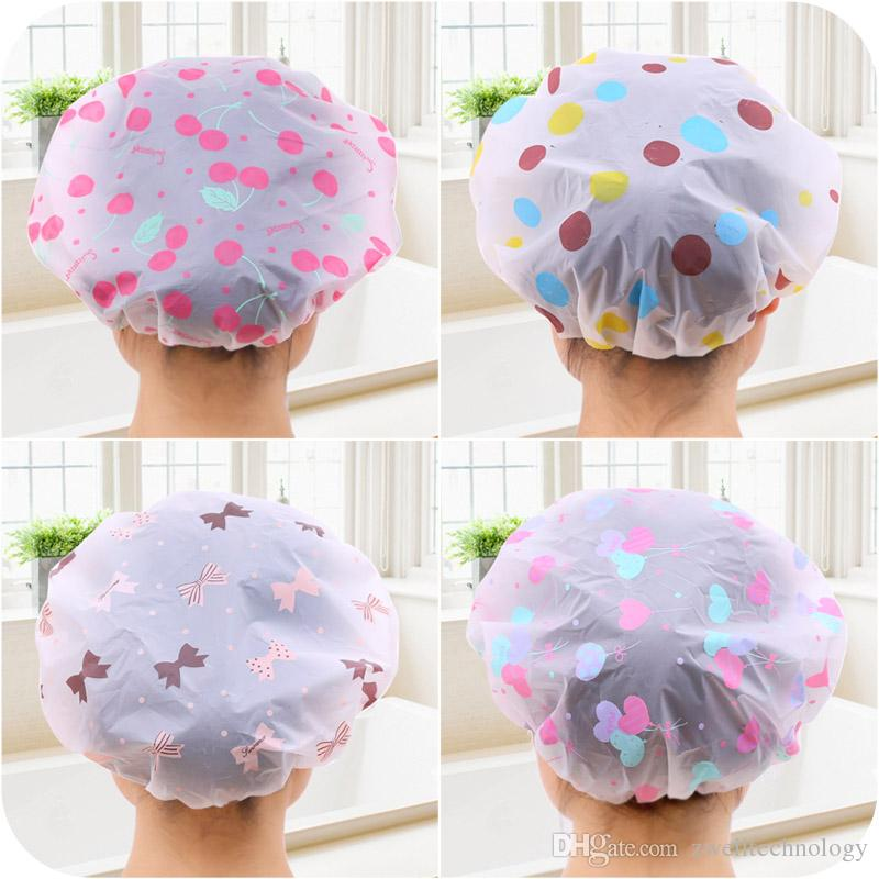 2020 Korean Style Cute Cartoon Waterproof Bathing Cap Adult Suit Long Hair Plastic Shower Cap For Adult Female From Zwelltechnology 0 51 Dhgate Com