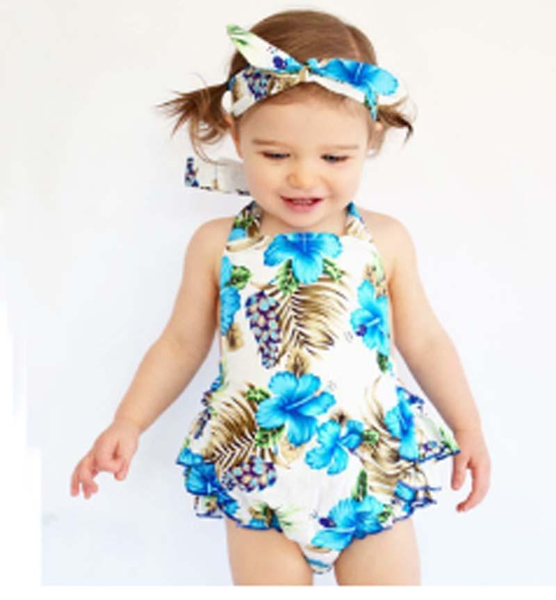 0-3tの赤ちゃんの花のドレス+髪のバンド+ PPパンツの女の子の綿のプリントノースリーブロンパール蝶の女の子のRuffled Jumpsuit