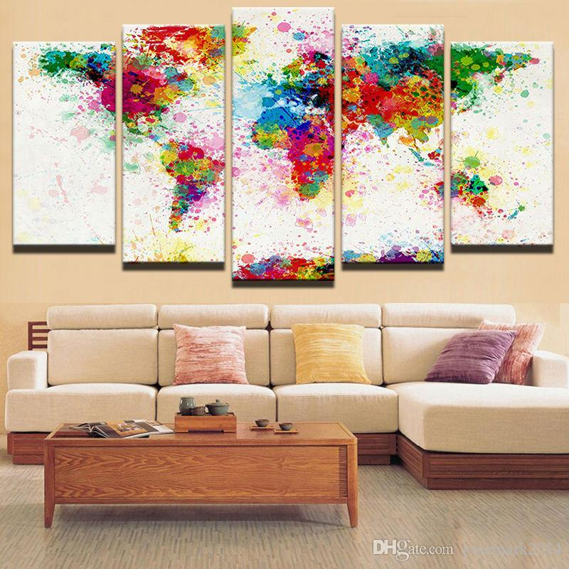 World Map Modern Canvas Print Painting Framed Home Decor Wall Art Poster 5Pcs