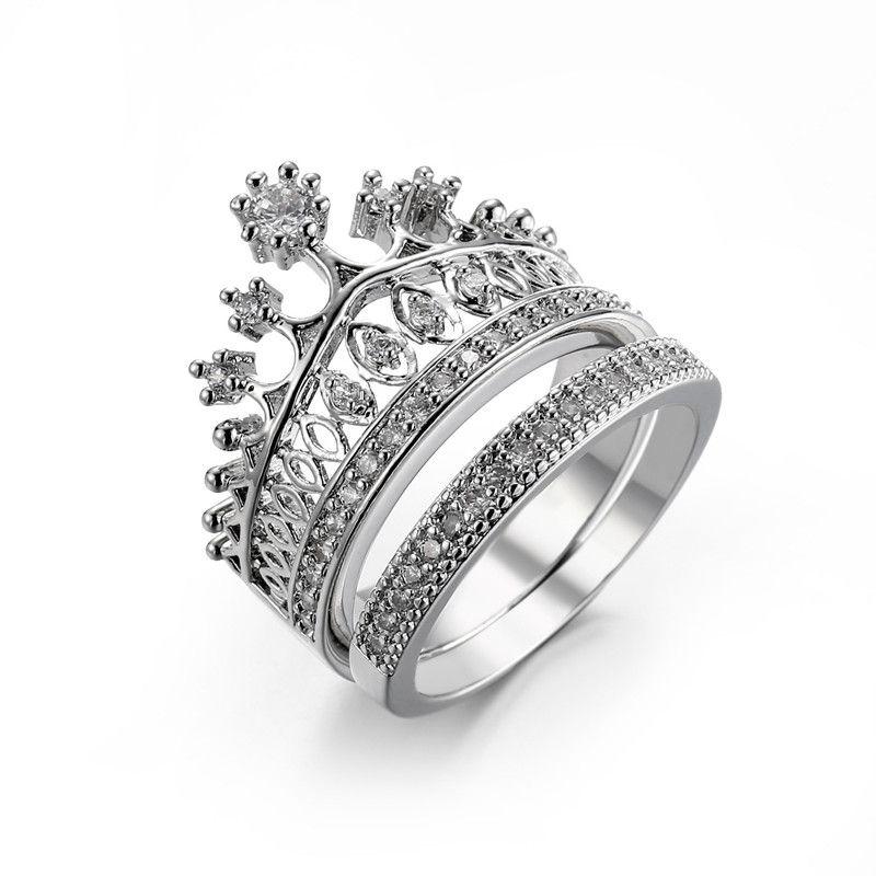 Set di anelli per festa di fidanzamento di nozze in oro bianco con diamante CZ di Diamonique