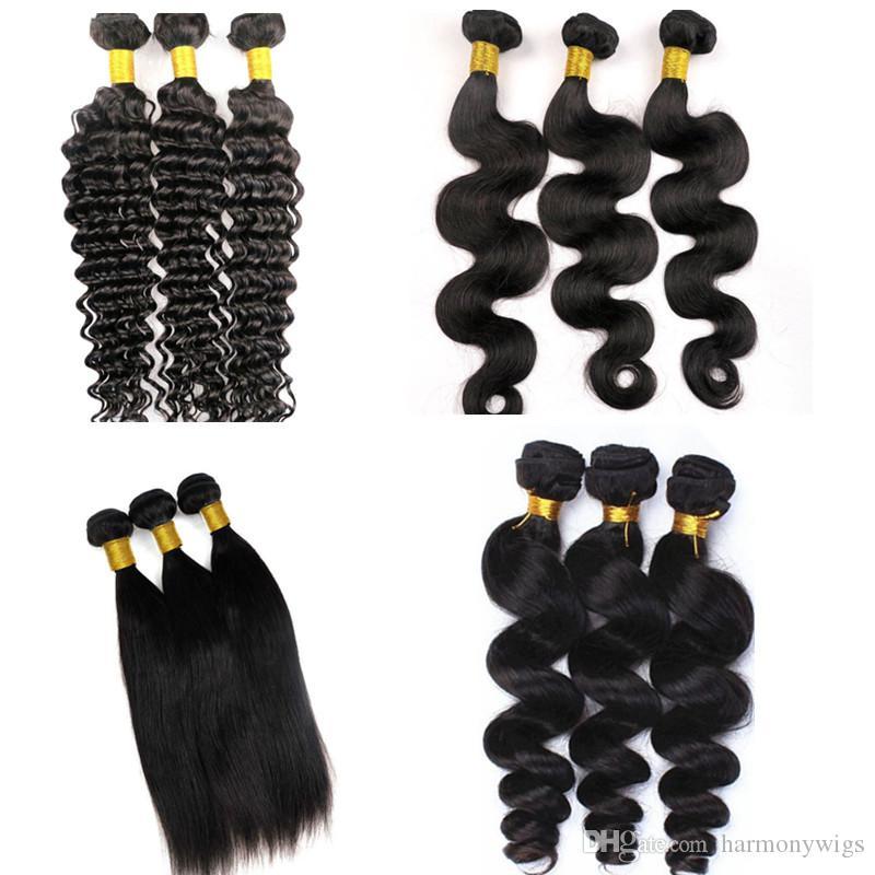 Норки девственные наращивание волос человеческих волос утки 100% необработанные 8-34Inch бразильский перуанский Индийский монгольский девственные волосы плетет 3 4 5 пучки