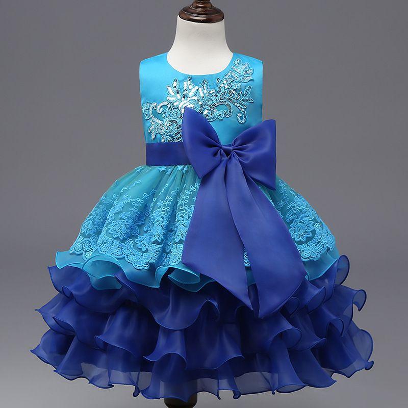 Nouvelle élégante princesse fille Robe 2017 Mode Bébé Printemps Enfants bowknot manches tutu robe de broderie Kids Party Robes pour filles