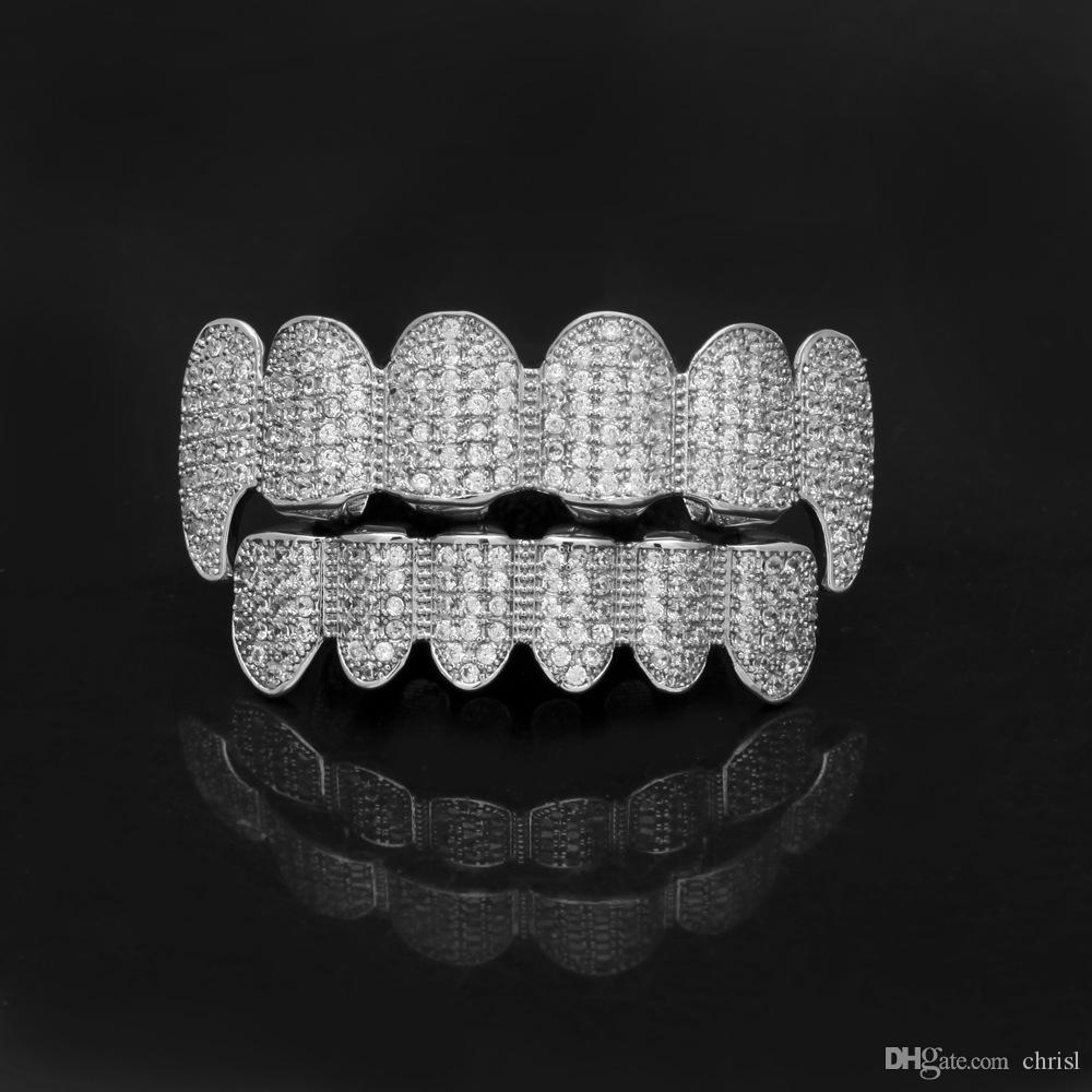 High-quality New Micro-Zircon Solid Gold Plated Hip-Hop Hooded Full Diamond Top & Bottom Teeth Grillz Body Jewelry Halloween