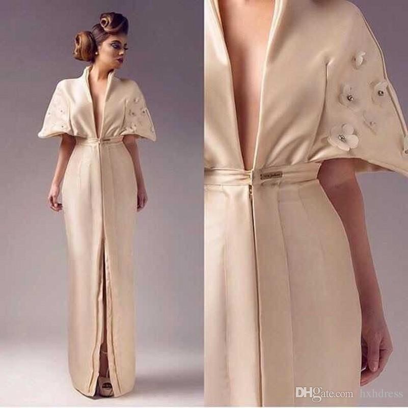 2019 novo pano de flor de cetim de cristal com decote em v aberto garfo em vestido de noite antes de sereia dress com mangas curtas Vestido De Festa 175