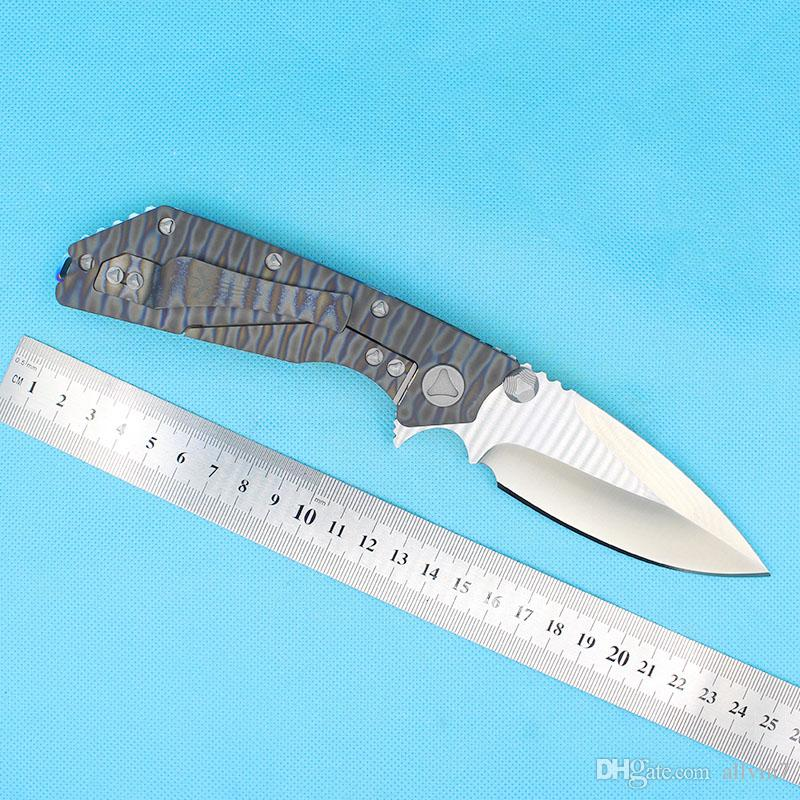 CUCHILLO PLATABLE DE FLIPPER D2 D2 Satin Point Blade TC4 Titanio Aleación de la aleación de la bola Cuchillos abiertos con herramientas de reparación