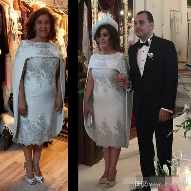 Wrapped Mother Of The Bride Dresses With Wraps /Jacket Lace Appliques Sequins Mother Groom Dresses Evening Wear Sheath Tea Length Prom Dress