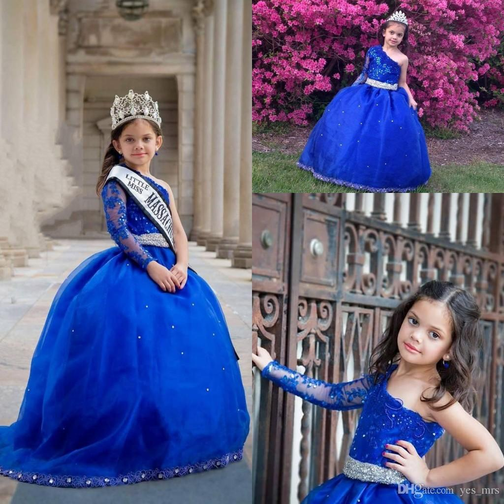 2017 Girls Pageant Dresses One Shoulder Long Sleeves Lace Appliques Crystal Beaded Kids Flower Girls Dress Ball Gown Cheap Birthday Gowns