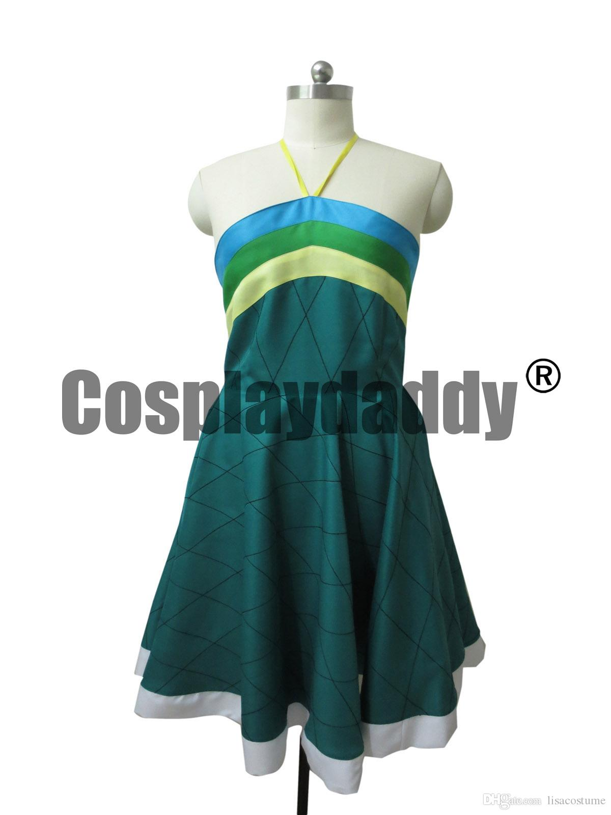 Fairy Tail Wendy Marvell Cosplay Costume Deep Green Dress