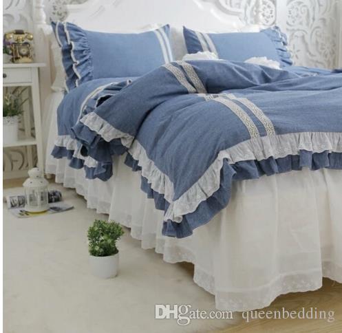 blu colore dei jeans di biancheria da letto casa di lusso 4 pezzi set nozze di cotone morden breve copripiumino federa matrimoniale queen size freeshipping linenbedding