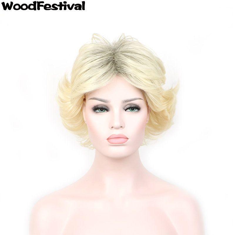 Parrucche sintetiche di alta qualità delle parrucche sintetiche delle donne di alta qualità di WoodFestival con frangia Parrucche dei capelli della fibra delle donne di scoppi