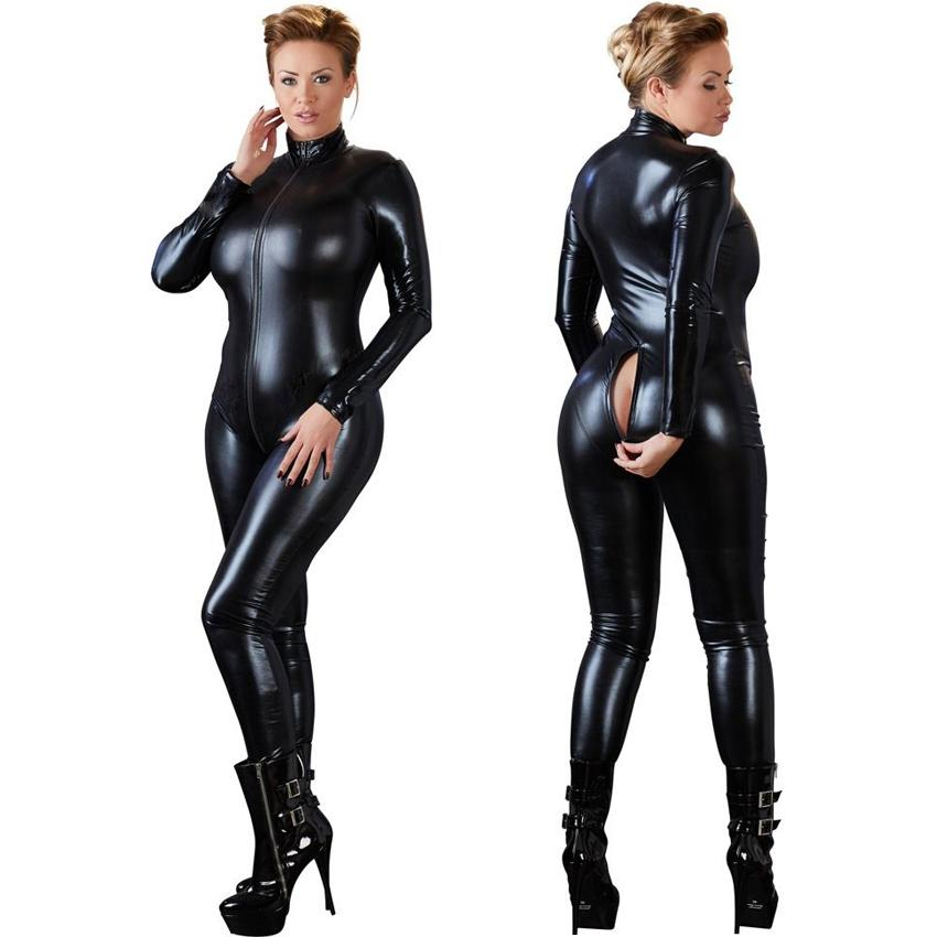 Donne Sexy Black Open Cavallo Zentai Catsuit Tuta Faux Leather Leggings Pantaloni Club Zipper manica lunga