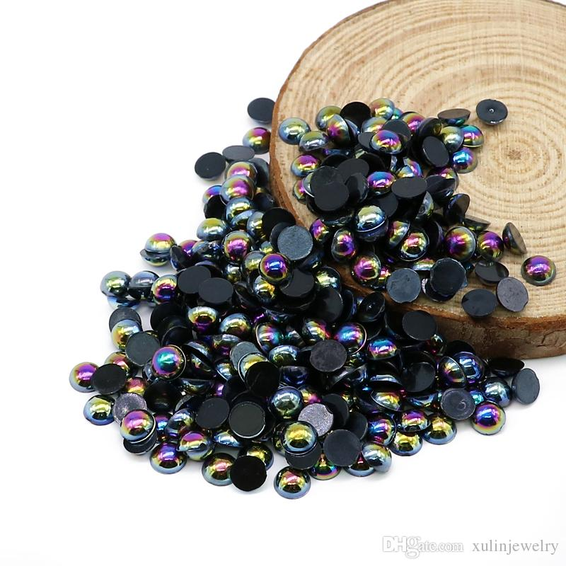 Flatback ABS Pearl Beads Black AB Color Plastic Half Pearl Flat Back Deco Cabochons For Nail Art, Cell Phone, Garment Decoration