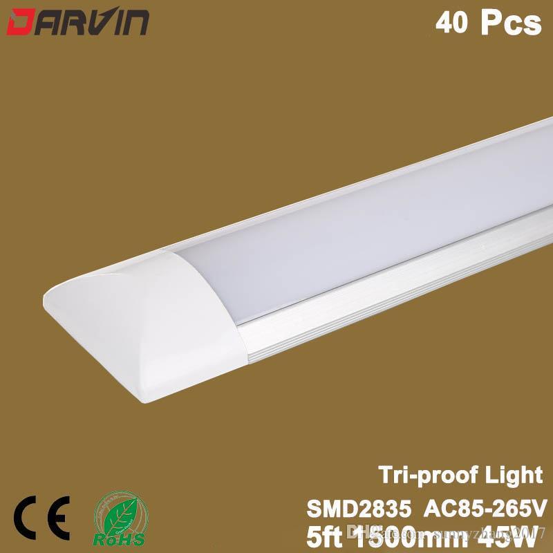 5피트 Led 빛 1,500mm 150cm 정제 조명기 램 45W 주도 관 주도 클리닝 형광등 110V 220V, 40PCS / 로트를 발광체