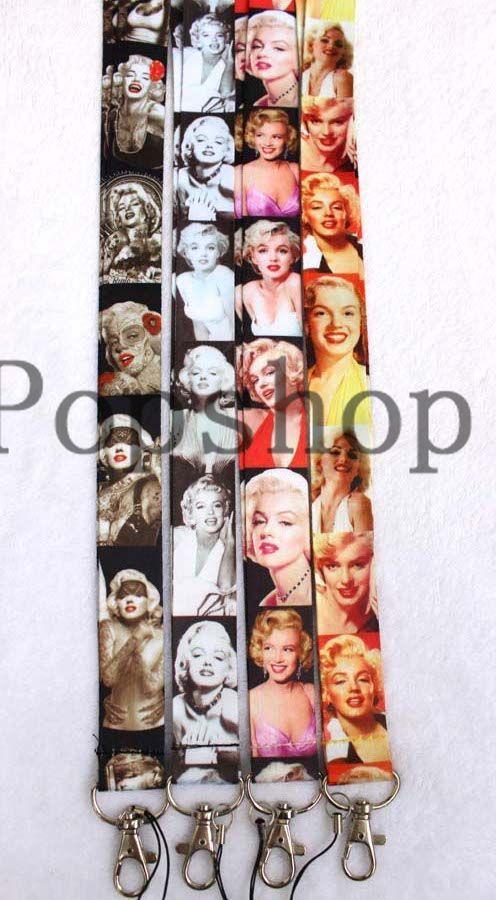 Livraison Gratuite 50 pcs Déesse De Sexe Marilyn MonroeNeck série Lanière Sangle Cellulaire Mobile Téléphone ID Carte Clé chaîne