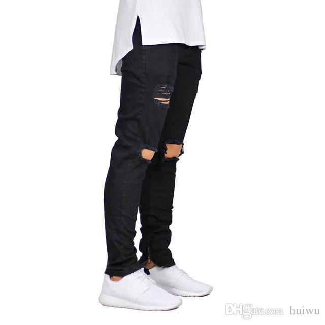 الرجال جينز ممزق تمتد دمرت تصميم الأزياء الكاحل زيبر نحيل جينز للرجال مع شحن مجاني