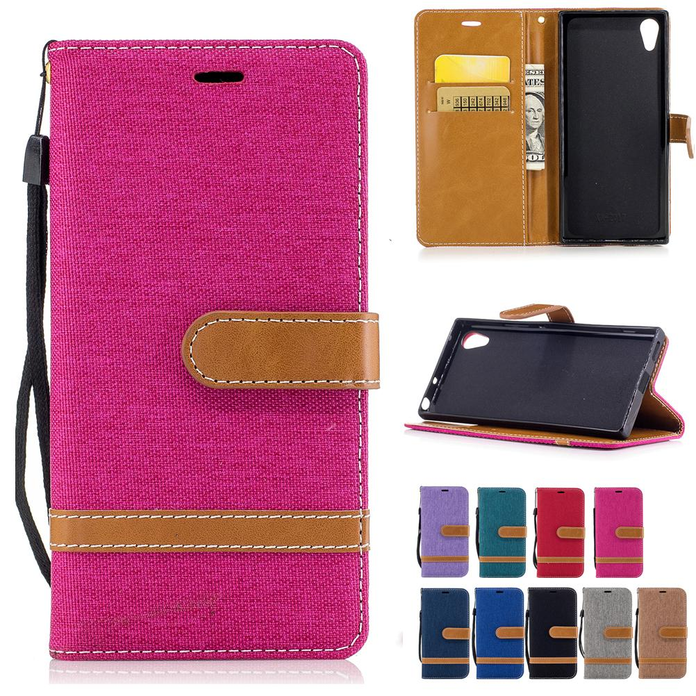 Per Sony XA1 Portafoglio Custodie in pelle PU Copertura in tessuto Jean con tasche per carte Cinghia a strappo con fibbia