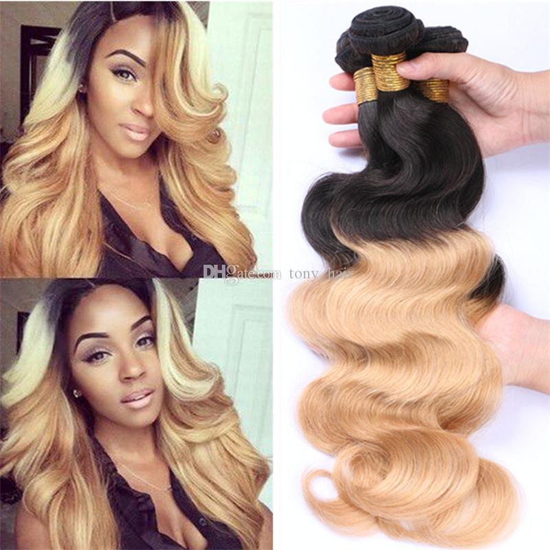 Ombre Malaysian Virgin Hair Weaves 1b 27 Honey Blonde Ombre Two Tone Human Hair Bundles Body Wave Ombre Malaysian Hair Extensions Hair Weaves Styles
