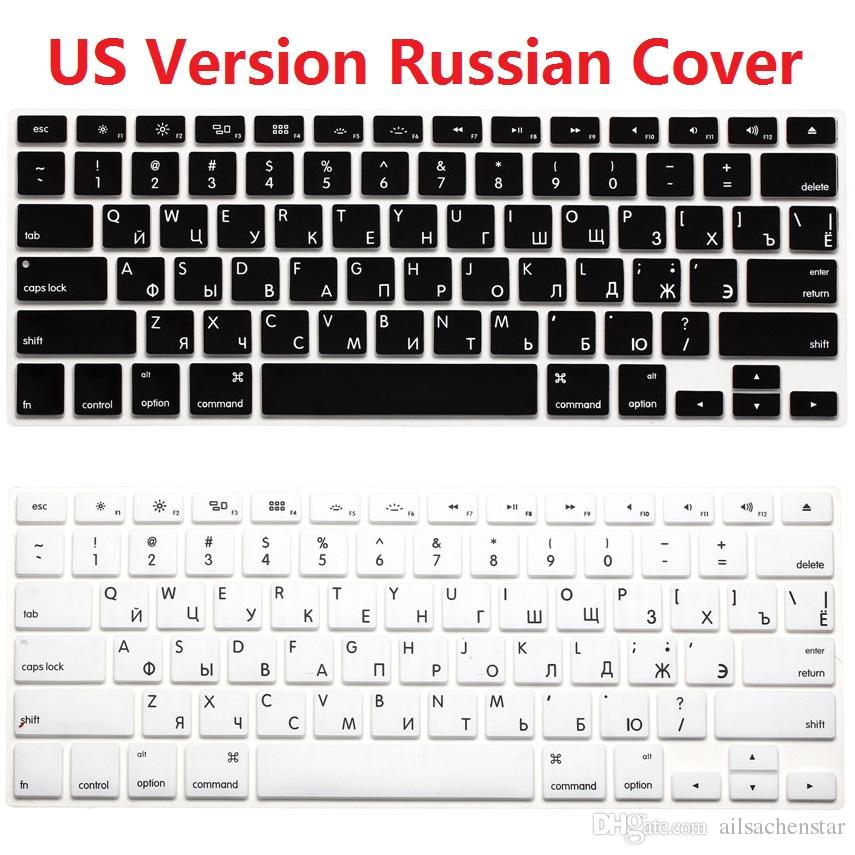 Euro Enter Russian Language Letter Silicone Keyboard Cover for MacBook Air 13 Pro 13 15 17 Retina Protector Sticker Film-Gold