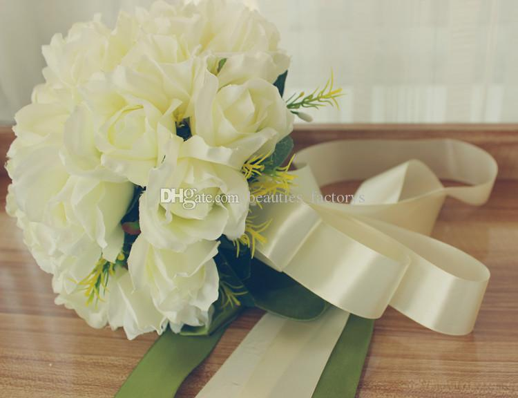 White Rose Bride Holding Bouquet Artificial Cascading Silk Wedding Flowers with Green Leaf Ribbon 26cm New
