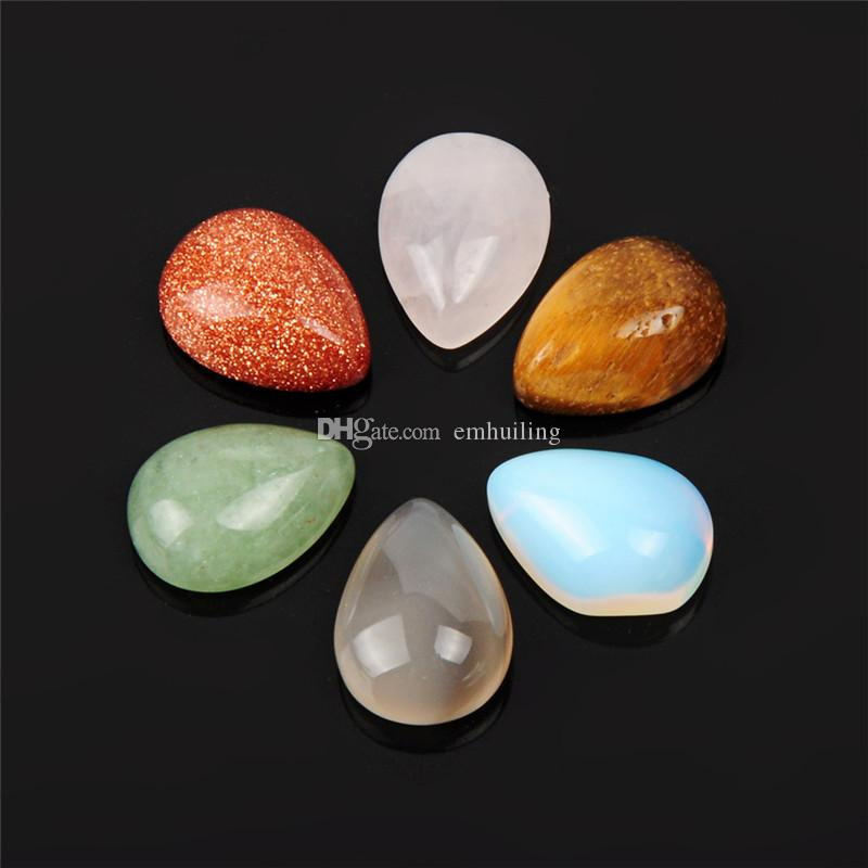 High Grade Teardrop Stunning Crystal Hand Made Agate Mineral Stone Pointed Cabochon for Art Jewelry Earrings Rings Making Women Girls Gift