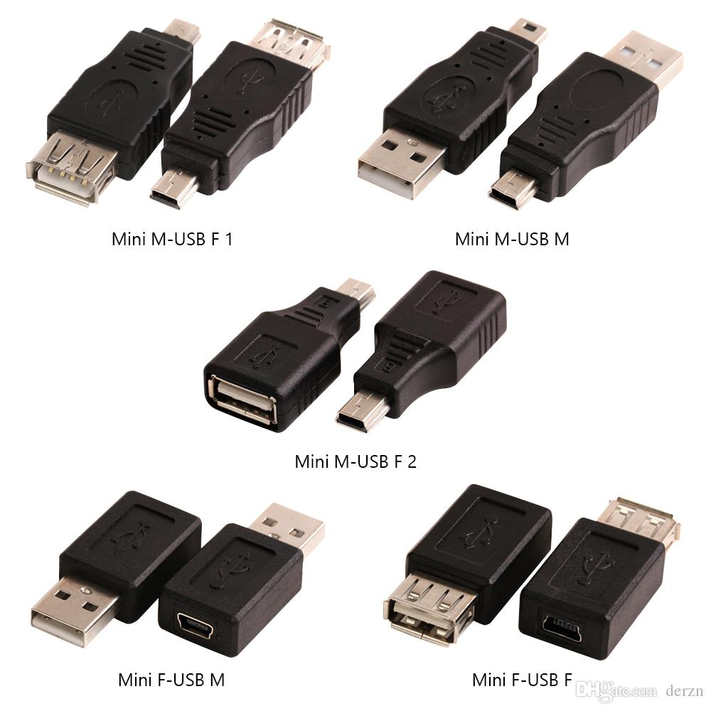 USB A Male to Mini USB B Type 5Pin Female Data Connector Mini USB Female to Female Adapter Converter for Desktop Computer PC