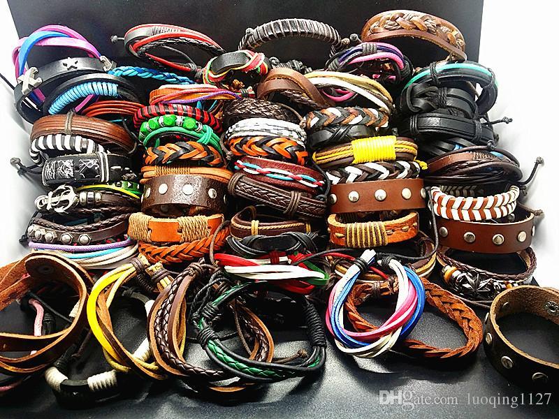 оптовые ассорти 30PCs / серия стилей смешивания ручной работы кожаный манжеты этнических племен моды браслеты новый