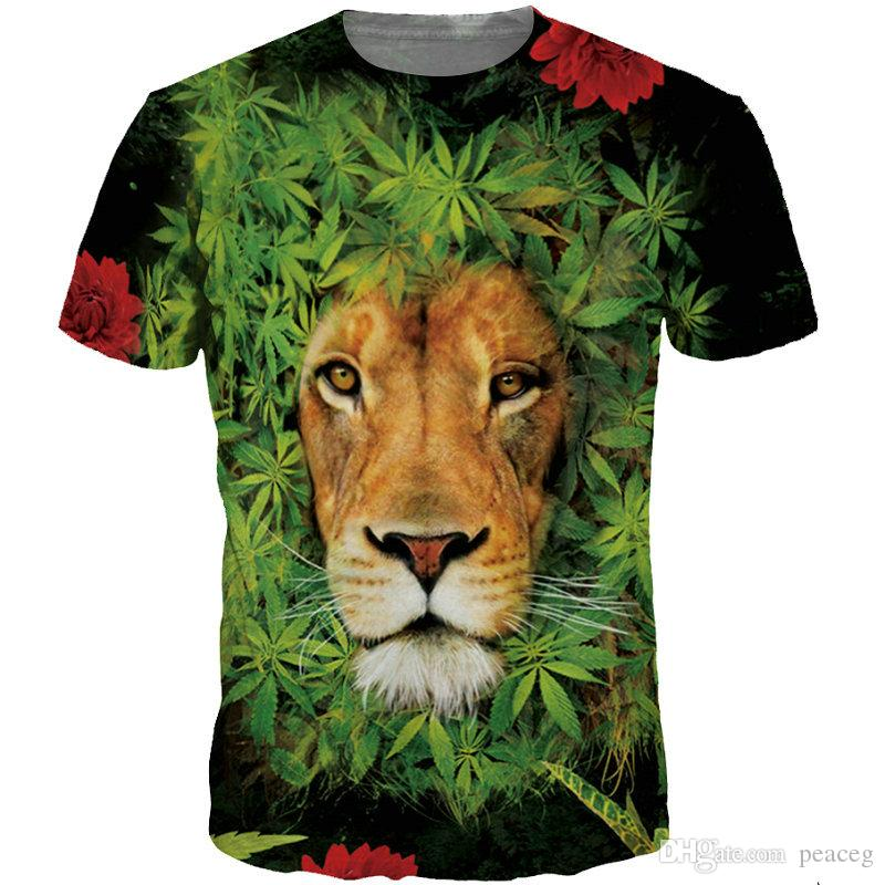 Lion T shirt Brave king short sleeve Animal picture tees Cool printing clothing Unisex cotton Tshirt