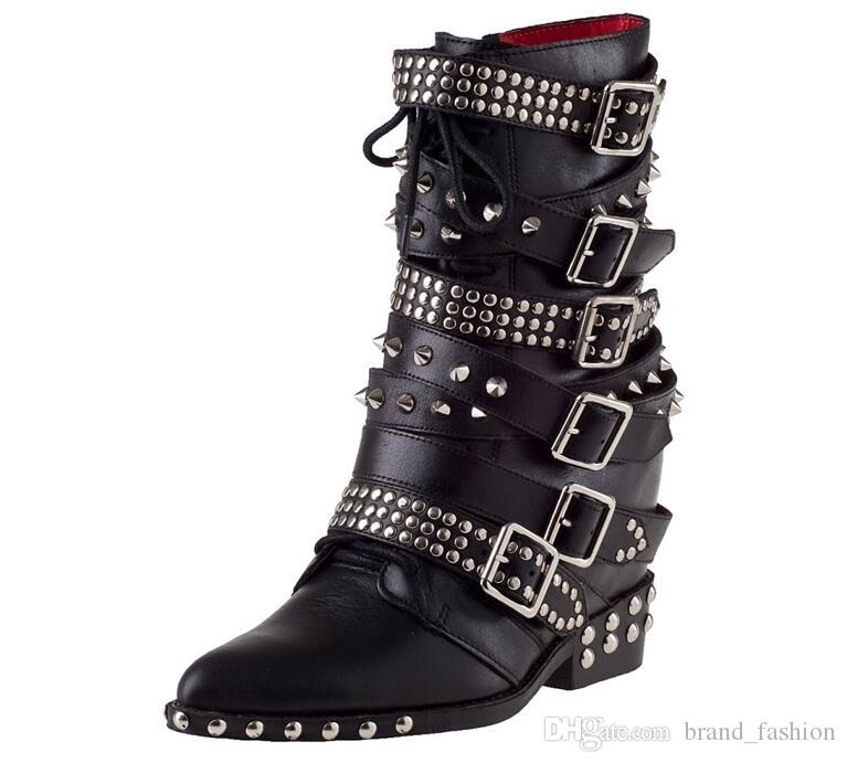 2017 Cool Punk Martin Women Boots Pinted Rivets Belt Buckle Mid Calf Short Bota Chic Chunky Heel Ladies Booties Men Boots Red Boots From