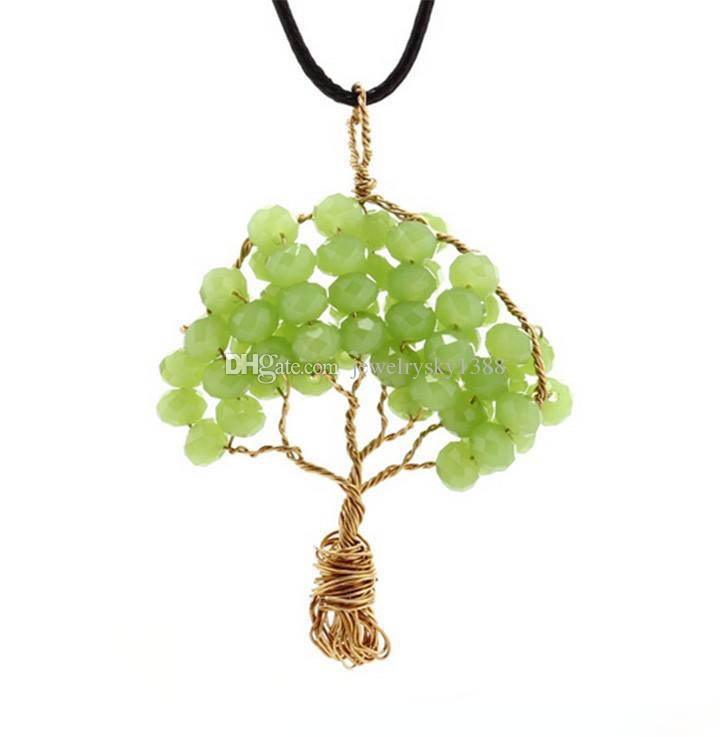 Creative Wire Wrapped Copper Tree Of Life Pendant Necklace Crystal Beads Wisdom Tree Necklaces Women Jewelry Pure Handmade
