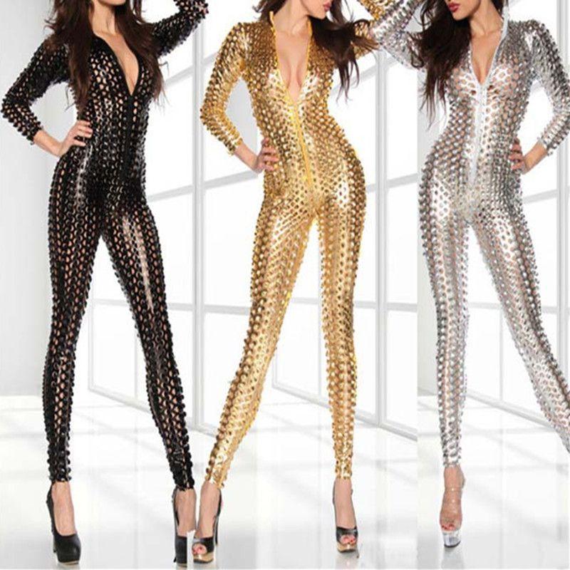 Al por mayor-Negro de cuero Sexy Trajes del cuerpo para las mujeres de PVC Erótica Leotardo Disfraces de látex Body Catsuit Mujeres Wet Look Monos mamelucos
