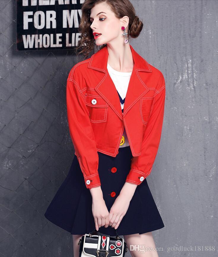 봄 가을 여성 패션 두 조각 레드 긴 소매 짧은 재킷 + 해군 A-라인 짧은 스커트 캐주얼 재킷 코트를 설정합니다