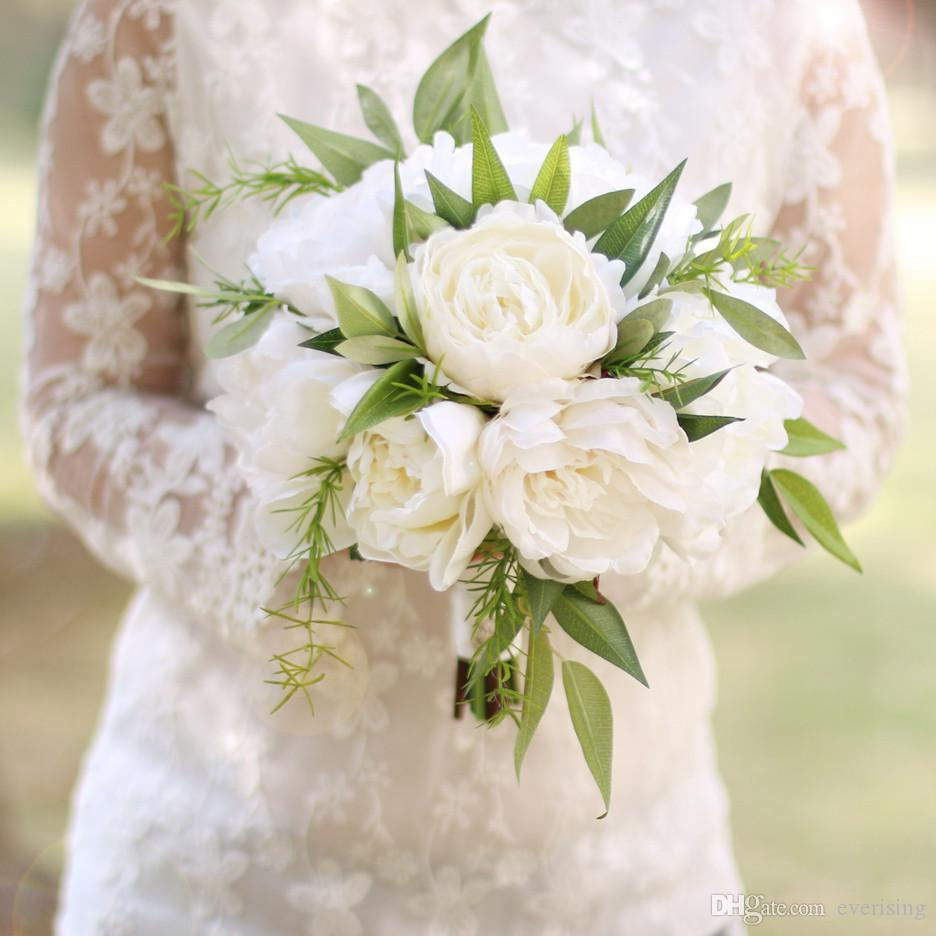 new arrival white green wedding bouquets peony bouquet de mariage bridal  bouquet brooch bouquet wedding flowers in stock rustic wedding flowers