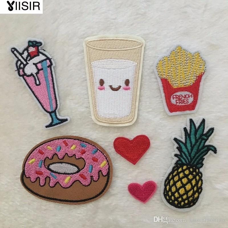 10pcs Fabric Donut Pineapple Milk Heat Transfer Embroidery Clothes Patches,Sew On,Iron On Patch,Appliques For Clothing,Backpack
