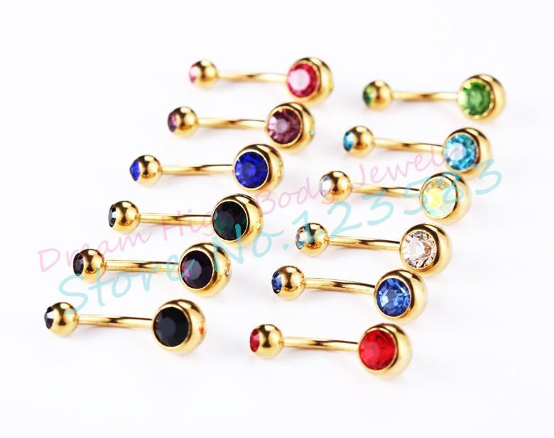 Gold Belly Button Rings DOUBLE GEM CRYSTAL BELLY BAR RING BARBELL BANANA ANODIZED Surgical Steel Navel Ring 1.6mm x 10mm