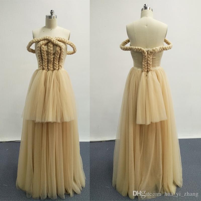 Abiti da ballo 2016 Off the Shoulder Weave Champagne Tulle Abiti da sera a-line Immagini reali Dhyz 01