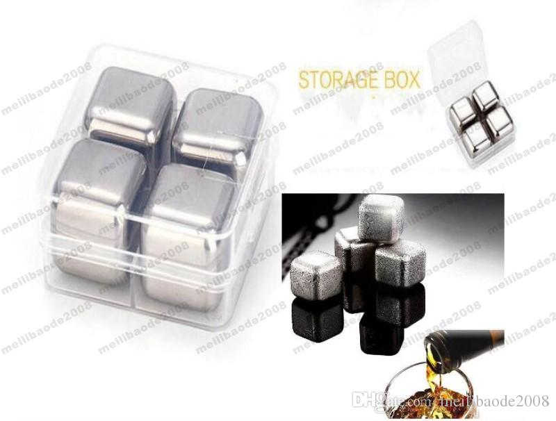 2017 NEW NEW 4Pcs/set Whiskey Wine Beer Stones Stainless Steel Cooler Stone Ice Rocks Cube Alcohol Chiller Stone MYY
