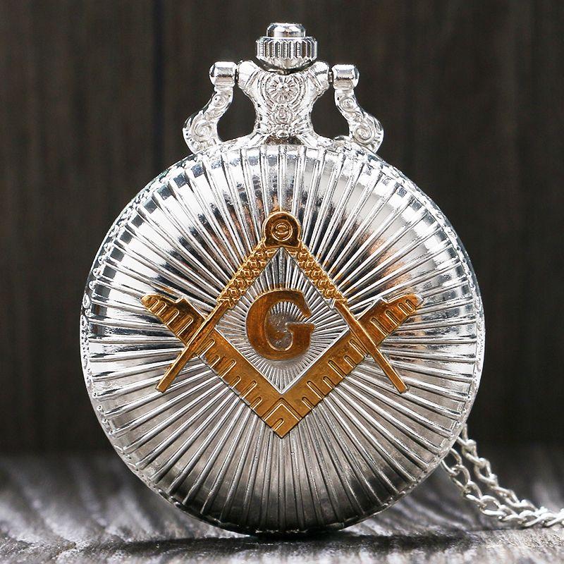 Оптово-Мода Серебряный Золотой Масонский Free-Mason Freemasonry Theme Карманные часы с цепочкой ожерелье Лучший подарок для мужчин, женщин